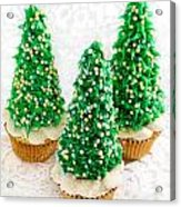 Three Christmastree Cupcakes  Acrylic Print