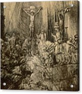 Three Crucifixes Acrylic Print by Rembrandt Harmenszoon van Rijn