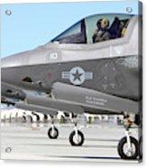 Three F-35b Lightning IIs At Marine Acrylic Print