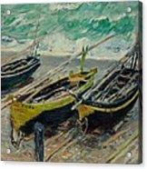 Three Fishing Boats Monet 1886 Acrylic Print