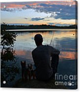 Three Fishing One Pole Acrylic Print