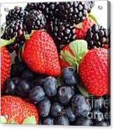 Three Fruit Closeup - Strawberries - Blueberries - Blackberries Acrylic Print by Barbara Griffin