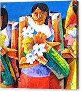 Three Girls With Flowers Acrylic Print