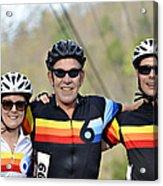Three Gran Fondo Riders Acrylic Print by Susan Leggett