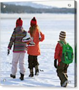 Three Kids Heading Out To Ice Skate Acrylic Print