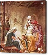 Three Kings Worship Christ Acrylic Print by William Brassey Hole