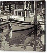Three Little Boats Sepia Acrylic Print