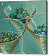 Three Martini Glasses With Jewels Acrylic Print
