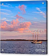Three Masted Schooner At Anchor In The St Marys River Acrylic Print