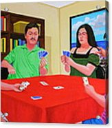 Three Men And A Lady Playing Cards Acrylic Print