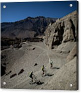 Three Men Seen From Above Ride Mountain Acrylic Print