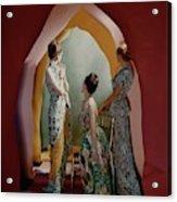 Three Models Wearing Patterned Dresses Acrylic Print