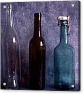 Three Old Empty Bottles On Painted Background Acrylic Print by IB Photo