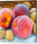 Three Peaches And Some Walnuts Acrylic Print