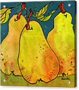 Three Pears Art  Acrylic Print by Blenda Studio