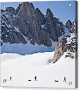 Three People Ski-tour On Karale Glacier Acrylic Print