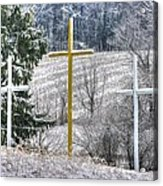 Three Roadside Crosses - Mount Airy Md Winter Acrylic Print
