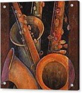 Three Sax Acrylic Print by Susanne Clark