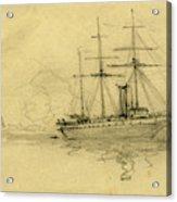 Three Ships At Sea, 1860-1865, Drawing, 1862-1865 Acrylic Print
