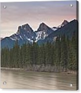Three Sisters And Bow River Canmore Acrylic Print