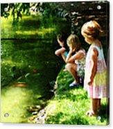 Three Sisters Watching Koi Acrylic Print
