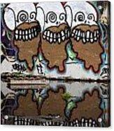 Three Skulls Graffiti Acrylic Print