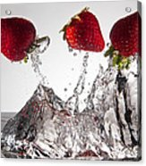 Three Strawberries Freshsplash Acrylic Print