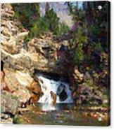 Three Swimmers At Waterfall Pool Acrylic Print