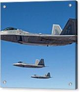Three U.s. Air Force F-22 Raptors Acrylic Print