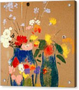 Three Vases Of Flowers Acrylic Print by Odilon Redon