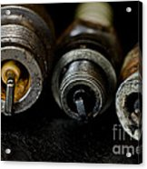 Three Vintage Rusty Spark Plugs  Acrylic Print by Wilma  Birdwell