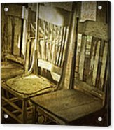 Three Vintage Wooden Chairs Acrylic Print