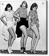 Three Women Lift Their Skirts Acrylic Print by Underwood Archives