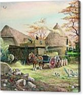 Threshing In Kent Acrylic Print by Dudley Pout