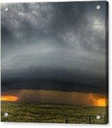 Thunderstorm Over Grassy Field Acrylic Print