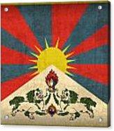 Tibet Flag Vintage Distressed Finish Acrylic Print