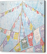 Tibetan Flags Acrylic Print by Elizabeth Stedman