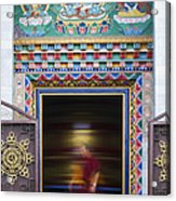 Tibetan Monk And The Prayer Wheel Acrylic Print by Tim Gainey