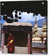 Tibetan Monk With Scroll On Jokhang Roof Acrylic Print