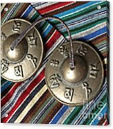 Tibetan Prayer Bells On Woven Scarf Acrylic Print by Anna Lisa Yoder