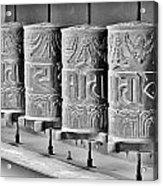 Tibetan Prayer Wheels - Black And White Acrylic Print