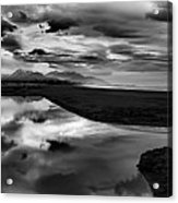 Tidal Pond Sunset New Zealand In Black And White Acrylic Print