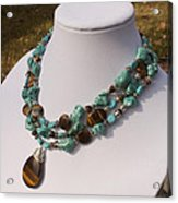 Tiger Eye And Turquoise Triple Strand Necklace 3640 Acrylic Print