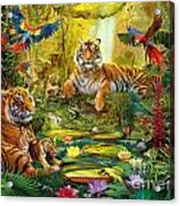 Tiger Family In The Jungle Acrylic Print by Jan Patrik Krasny