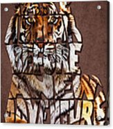 Tiger Majesty Typography Art Acrylic Print