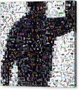 Tiger Woods Fist Pump Mosaic Acrylic Print