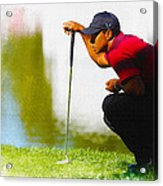 Tiger Woods Lines Up A Putt On The 18th Green Acrylic Print