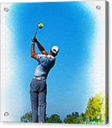 Tiger Woods Plays His Tee Shot On The 15th Hole Acrylic Print