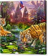 Tigers At The Ancient Stream Acrylic Print by Jan Patrik Krasny