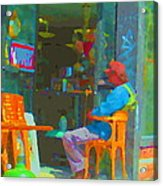 Tim Hortons Coffee And Donuts Sunday Aternoon At Tims Plateau Montreal Cafe Scene Carole Spandau Acrylic Print